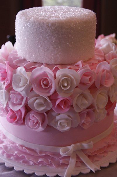 ♥♥: Pink Wedding, Baby Shower Cakes, Decor Cakes, Pink Cakes, Wedding Cakes, Pink Rose, Beautiful Cakes, Ballet Cakes, Rose Cakes