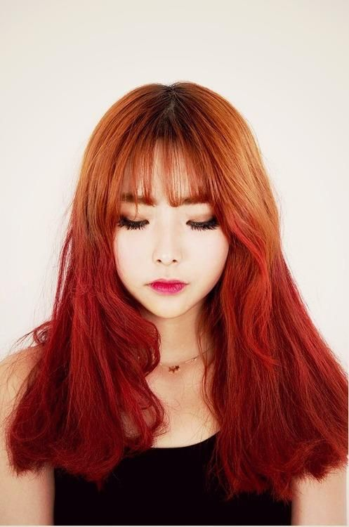 Beautiful Korean Hair Red Ombre  Hair Style   Pinterest