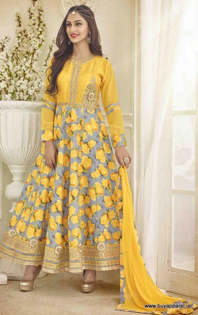Yellow Amp Grey Bhagalpuri Silk Anarkali Suit With Floral