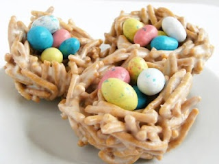 Bird nest snack! Peanut butter, pretzels, and chocolate eggs! Yum. (Change out the chocolate eggs for nuts or something as a less sweet alternative)