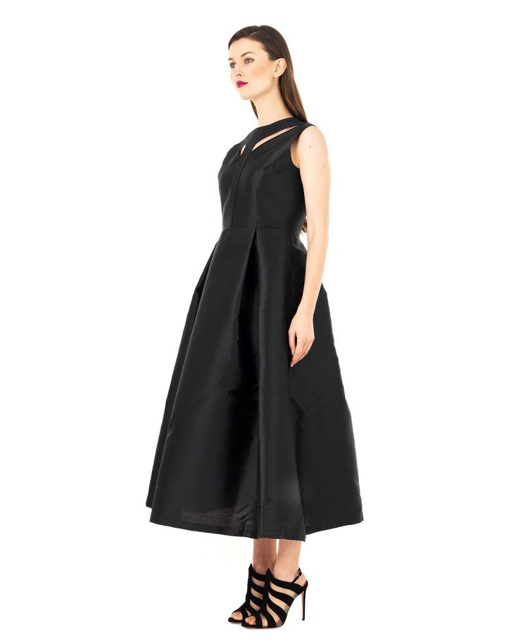 DOMENICO CIOFFI LONG SLEEVELESS DRESS S/S 2016 Black long dress sleeveless decorative openings on the bodice waisted bodice flared skirt with waist darts concealed back zipper closure 85% PL 15%SE
