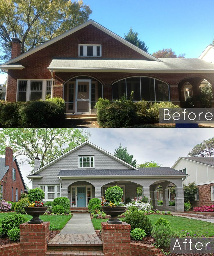 Before and After of Dilworth home built in 1918. Painted the brick this amazing grey