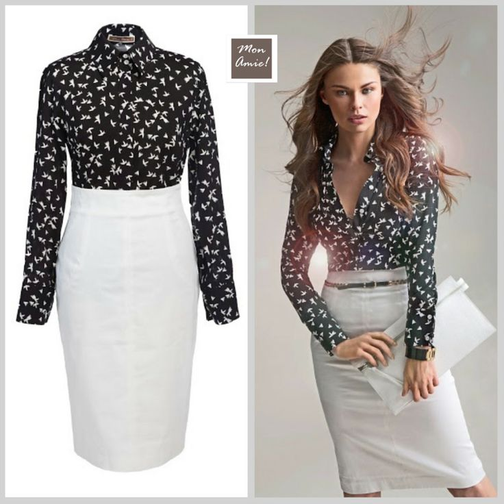 How to dress for a job interview with style and elegance? Black and white always perfect!  Professional pencil skirt and bird print button-up shirt Browse and shop related looks