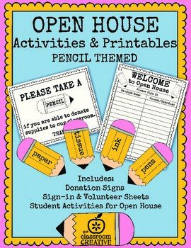 This open house or back to school parents night packet includes pencil themed classroom donation ideas and activities for the whole night!