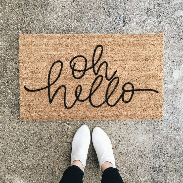 Oh Hello Welcome Mat Hand Painted