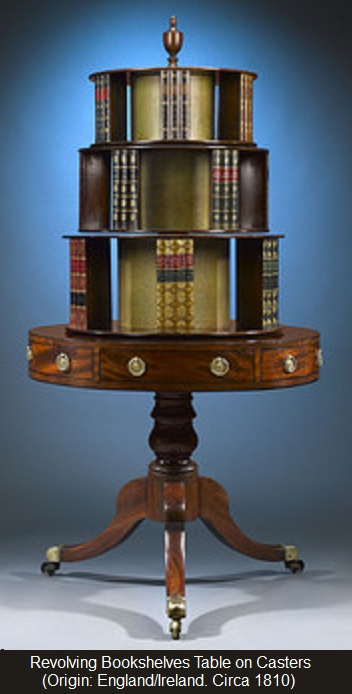 REVOLVING BOOKCASE (ca 1810). Trompe Lu0027oeil Dividers Look Like  Leather Bound Volumes. Each Of The Three Levels Rotate Independently Of  Each Other.
