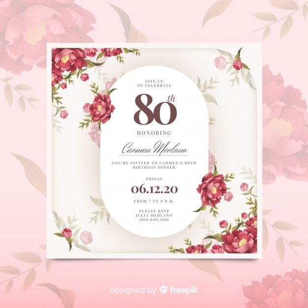 Download Pink Floral Birthday Invitation Template For Free Seni