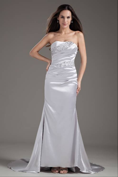 Sexy Silver Mermaid Evening Dress Strapless Elastic Satin Party Dress