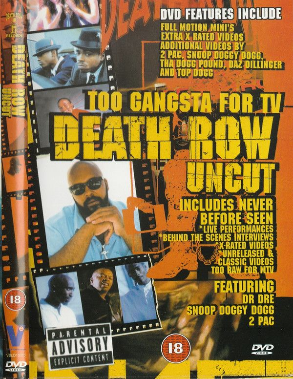 Death Row Uncut (Too Gangsta For TV) 1	–Dr. Dre & Snoop Doggy Dogg*	Dre Day (Everybody Celebrate)	 2	–Dr. Dre Featuring Snoop Doggy Dogg*	Let Me Ride	 3	–Warren G & Nate Dogg	Regulate	 4	–Dr. Dre & Ice Cube	Natural Born Killers	 5	–Tha Dogg Pound	New York, New York	 6	–Snoop Doggy Dogg*	Murder Was The Case	 7	–Snoop Doggy Dogg*	Who Am I (What's My Name)	 8	–Snoop Doggy Dogg* Featuring Tha Dogg Pound & The Dramatics	Doggy Dogg World	 9	–Snoop Doggy Dogg*	Gin & Juice	 10	–2Pac	To Live And Die…