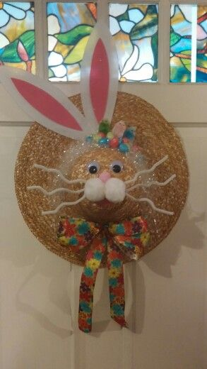 Easter Bunny straw hat wreath- Shelly's Decor and More
