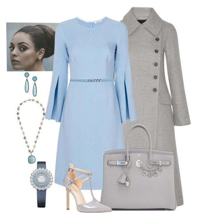 Blue/Gray by manda3482 on Polyvore featuring P.A.R.O.S.H., CO, Nine West, Hermès, ADORNIA and Yves Saint Laurent