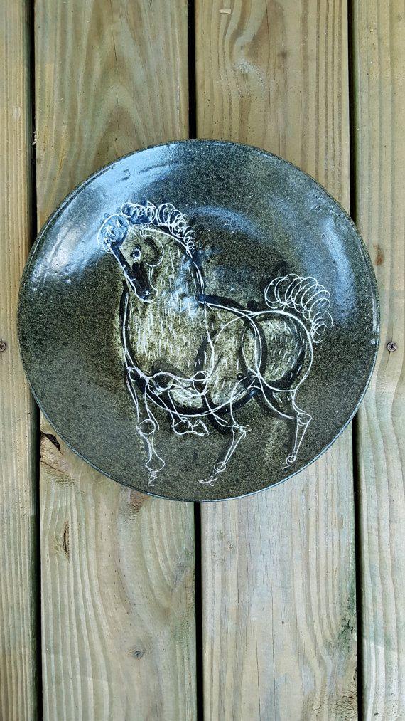 Mid-Century Art Pottery Alfaraz Horse Charger by LesliesCurios