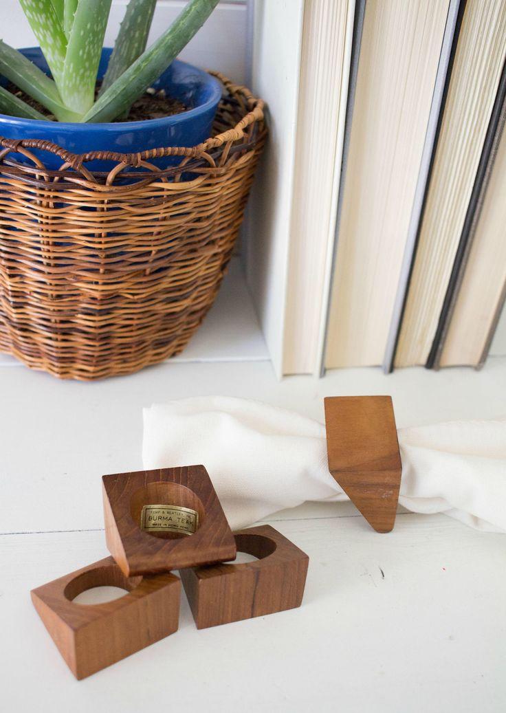 Set of 4 Danish Modern Napkin Rings - Vintage Burma Teak Mid Century Modern  Napkin Rings