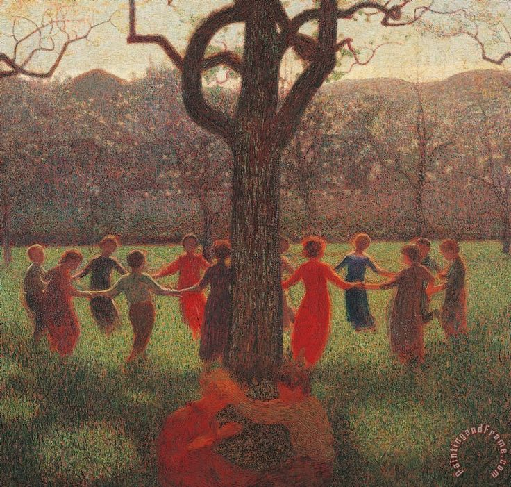Ring-around-the-rosey Painting by Giuseppe Pelizza da Volpedo