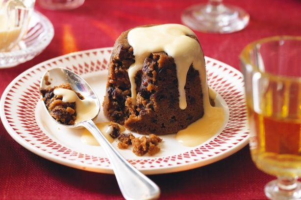 For a sweet Christmas finale, plate up mini puddings with Kahlua-infused raisins and hints of coffee.