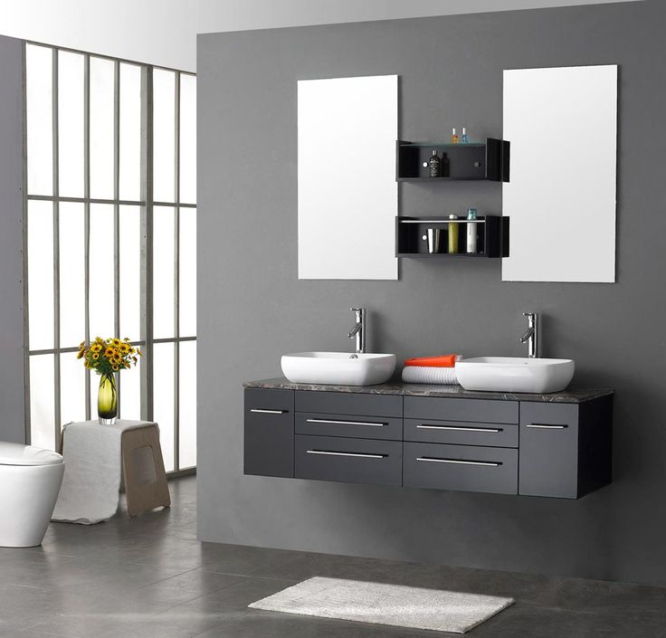 Bathroom Small White Rug With Black Bathroom Vanity Cabinets Plus Square White Basins Design Get Classy. 78 Best images about Bathroom on Pinterest   Classy  Bathroom