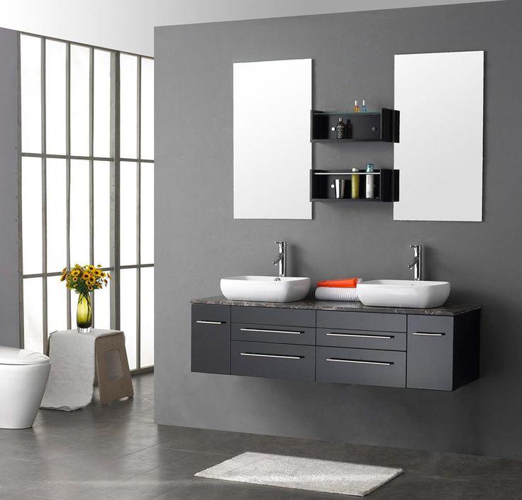 Bathroom  Small White Rug With Black Bathroom Vanity Cabinets Plus Square White Basins Design Get Classy Storage Style by Elegant Bathroom Vanity Cabinets