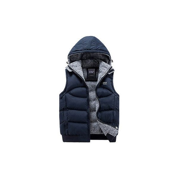Casual Sport Solid Color Zipper Pockets Detachable Hood Waistcoat ($40) ❤ liked on Polyvore featuring men's fashion, men's clothing, men's outerwear, men's vests, dark blue, men coats & jackets vests, mens slimming vest, mens sport vest, mens sports vest and mens slim fit vest