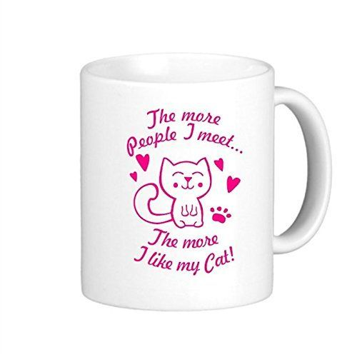 VetiVer The More People I Meet, The More I Like My Cat Funny Coffee Mug Picture Mugs >>> Insider's special review you can't miss. Read more  : Cat mug