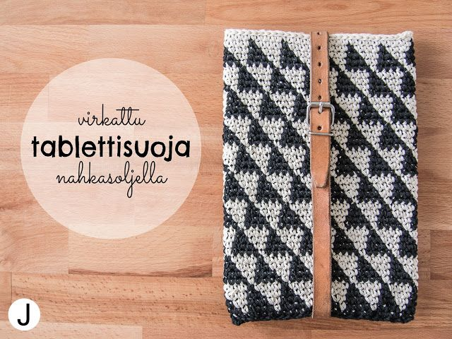 Crocheted geometric black and white cover for tablet with leather belt. I'm currently in love with all kinds of triangles ;)  Virkattu mustavalkoinen suojapussukka tabletille nahkasoljella. Kolmiot = <3  More on blog DIY with JENNY >> diyjenny.blogspot.fi