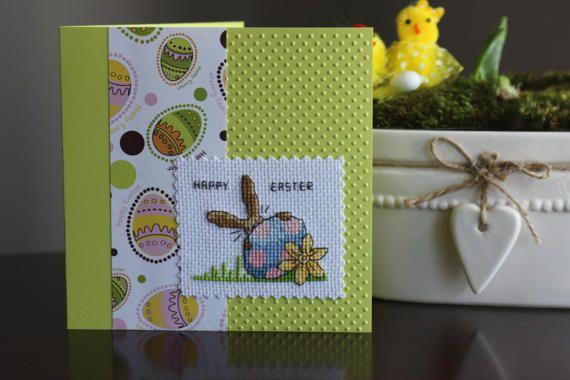 Happy EASTER handmade card, Lime green card, cross stitch card, greetings card, cross stitch gifts, handmade Card, Easter BUNNY Card