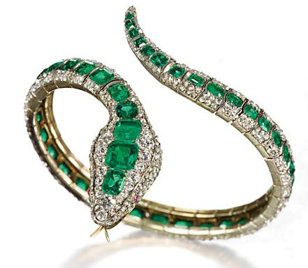 Emerald and diamond bangle: rose-cut diamond body, rectangular-cut emeralds, round diamonds, set in gold, mid-19th century. Estimated: $100,000 – $150,000.