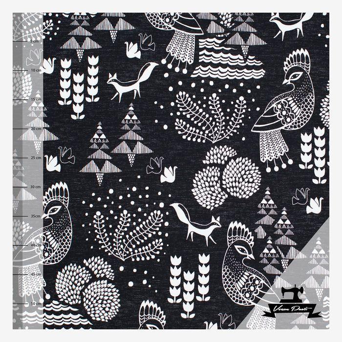 Sielulintu (musta/valkea trikoo) pellavaefektipohja | Verson Puoti