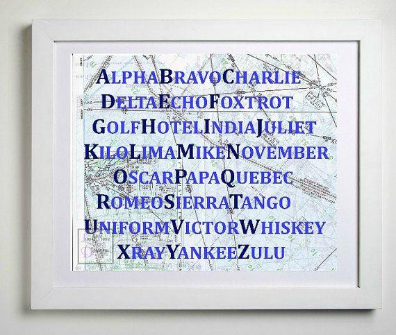 Phonetic Alphabet Map Art Print, Aviation Decor, Blue Nursery Decor, Aviation Nursery, Wall Art, Future Pilot Gift, Aviation Nursery Art