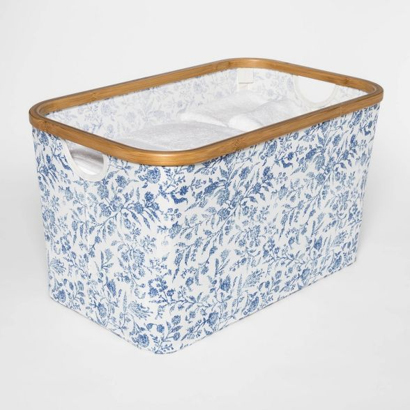 Soft Sided Laundry Basket With Bamboo Rim Floral Blue Threshold In 2020 With Images Basket Storage Home