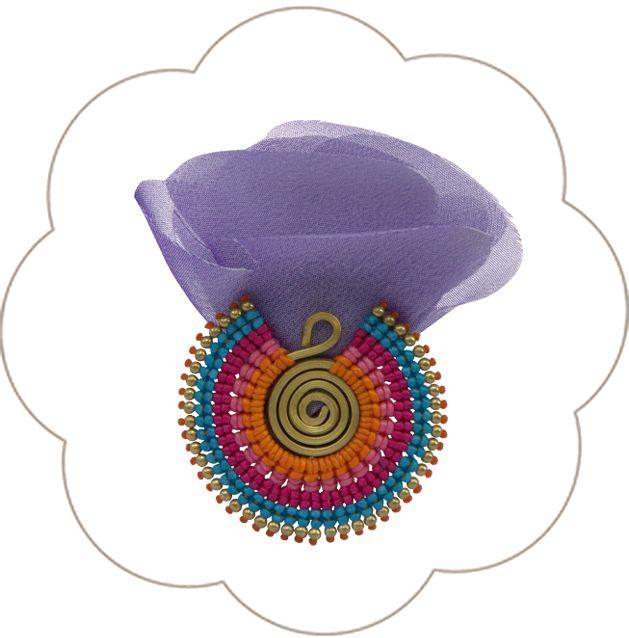 Ethnic-Tribal Haarclip mit Blüten und einer Ethnic-Tribal-Brosche!Trend 2015, Haarschmuck in Orange, Bronze, Blau, Lila, Magenta, Rot, Schwarz. EthnicTribal Headpiece.