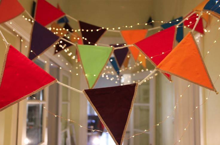 Party entry multi-coloured bunting with fairy lights @FireflyWorkshop Melbourne, Australia