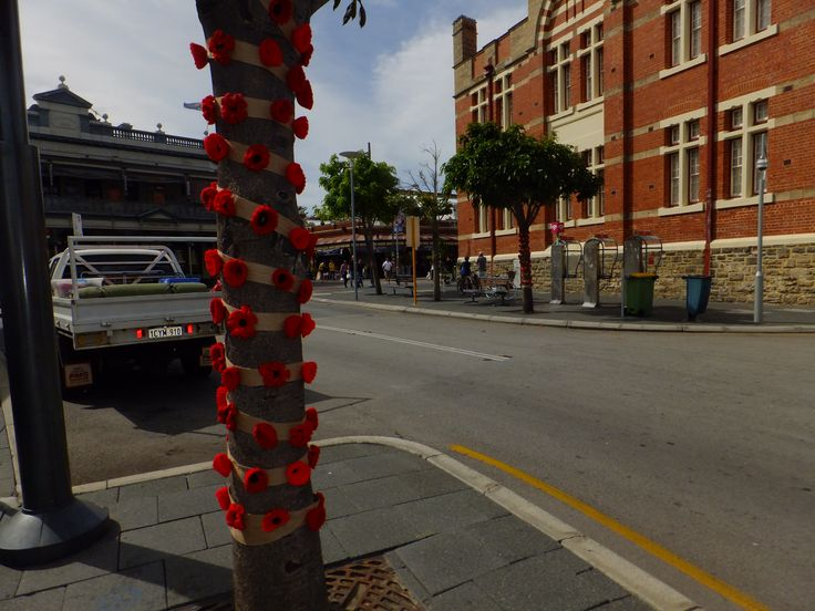 Lest we forget. Poppies for ANZAC Day in Essex St.
