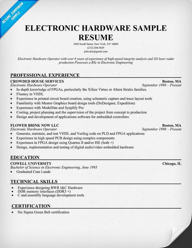 Electronic Hardware Resume Sample (resumecompanion) Resume - electronics technician resume samples