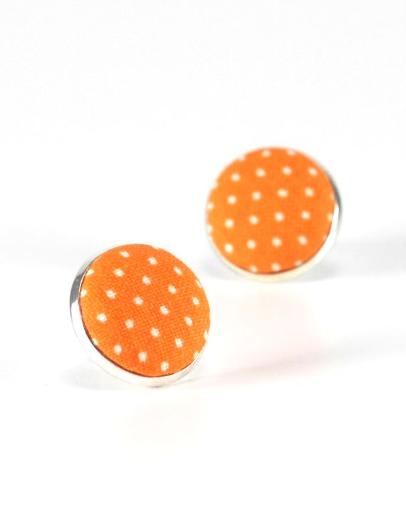 Orange Stud Earrings, Sunrise Orange Polka Dots Earring Studs, Goldfish Fabric Covered Buttons, Tangerine Silver Toned Earring Posts Jewelry by PatchworkMillJewelry