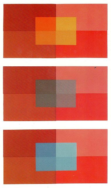 """More comparative color. Joseph Albers from """"Interaction of Color"""". The 3 backgrounds are the same colors but react differently due to the different colors in the middle. Josef Albers was a German-born American artist and educator at the Bauhaus whose work on color theory, both in Europe and in the United States, formed the basis of some of the most influential and far-reaching art education programs of the 20th century"""