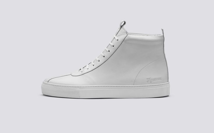 Sneaker 6 | Mens Oxford Hi Top Sneaker in White Calf Leather on White Rubber Sole | Grenson Shoes - Side View