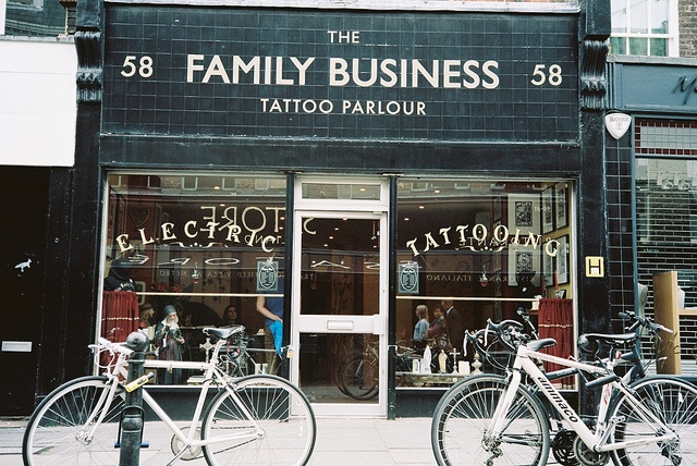 Walking in Clerkenwell - bikes in Exmouth Market and Tattoo Parlour by fabiolug, via Flickr