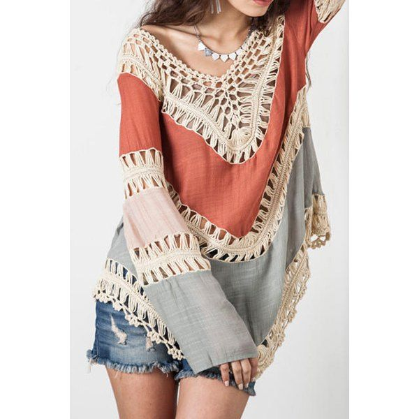 $16.76 Sexy V-Neck Long Sleeve Hollow Out Asymmetrical Women's Cover Up
