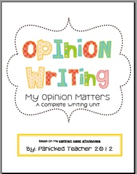 Opinion Writing Unit:  I definitely would like to check this out.  It's available on TPT for 8.50.  I'm not sure if I want to spend that much when it's 3-5th grade.  Still, I want to take a closer look.