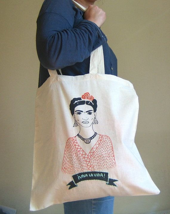 Frida Kahlo screen printed tote bag by LatelierdEloiseS on Etsy, €13.00