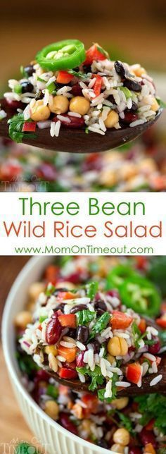 On hot summer nights, turn to this Three Bean Wild Rice Salad for an easy and delicious light dinner recipe that your family will DEVOUR. It also makes the perfect side dish for barbecues, parties, cookouts and more! | http://MomOnTimeout.com | #recipe #dinner #hungry #ad