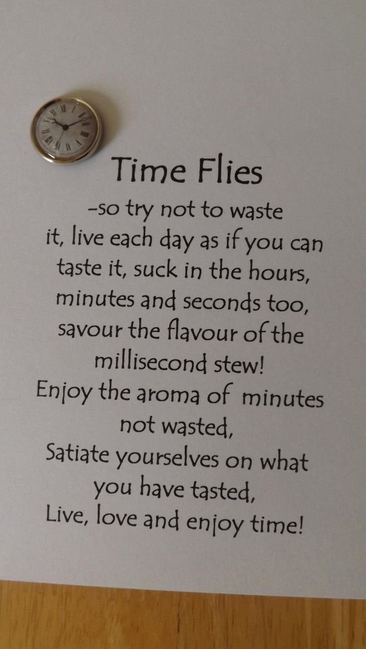 Time Flies- so try not to waste it,live each day as if you can taste it.Blank Greetings Card. by HeronCottageArtisan on Etsy