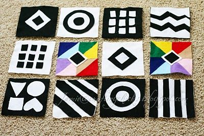 I could make these with plastic canvas, contrast colors for baby
