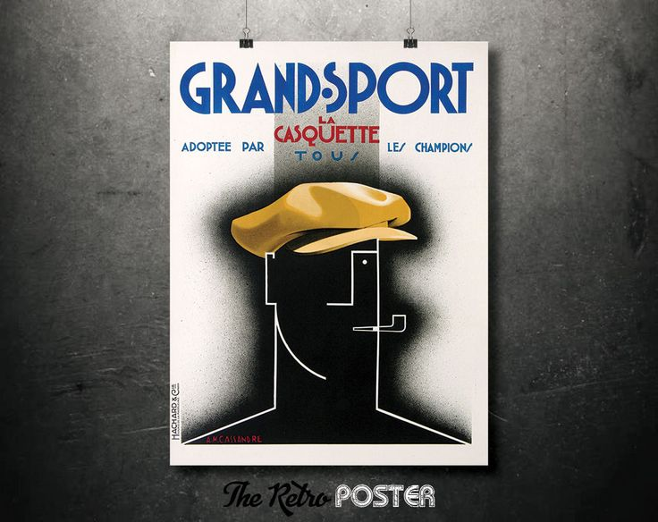 1925 Grand Sport - The Tour Cap - Adopted by the Champion - Artist: A.M. Cassandre // High Quality Fine Art Reproduction Giclée Print by TheRetroPoster on Etsy