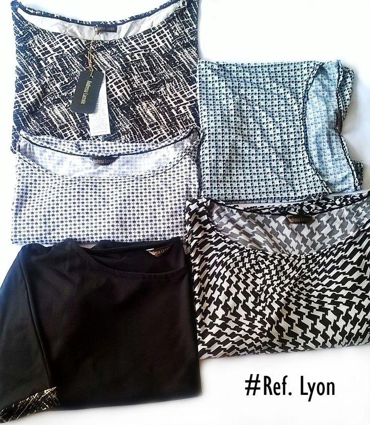 Blusones con manga 3/4 cuello bandeja, estampados patrones gráficos. Ref. #Lyon