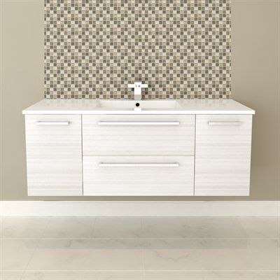 Wall Hung Vanity - WHITE CHOCOLATE #vanity #drawers #sink #lightcabinets #lightwood #bathrooms #interiordesign #renovations #CutlerKitchenandBath
