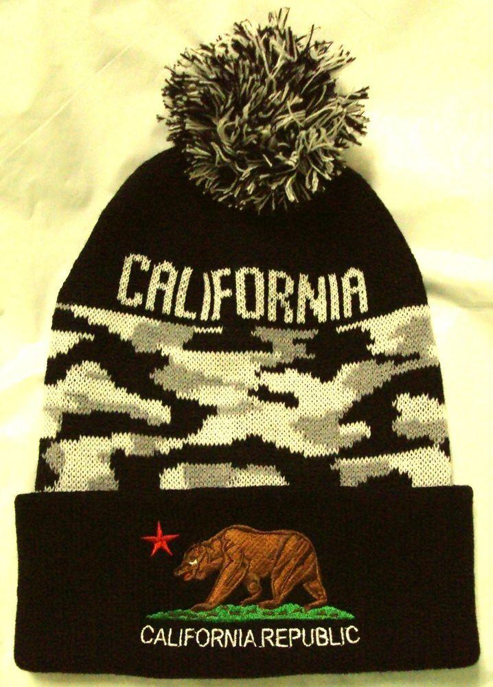 CITY CAMO CALI CA CALIFORNIA REPUBLIC FLAG BEAR WARM POM BEANIE KNIT CAP SKI HAT #HIGHPREMIUMHATS #Beanie