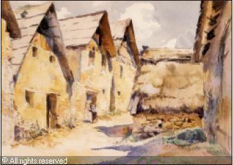 St Dalmas Valdeblore trois granges à l'entrée du village,  watercolor on paper by Mossa  Gustave Adolphe