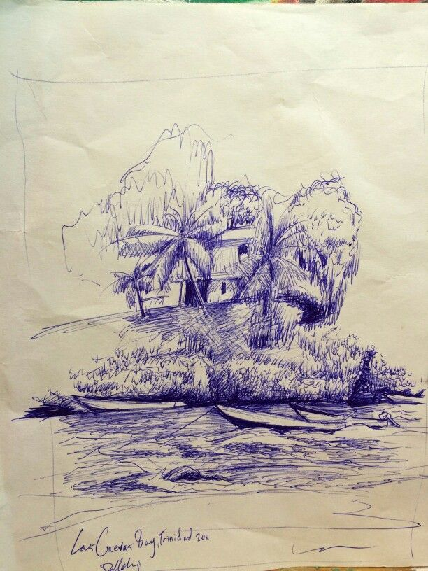 Las  Cuevas Bay. Northern Trinidad 2011. Most beautiful place in the world. Sketch with pen