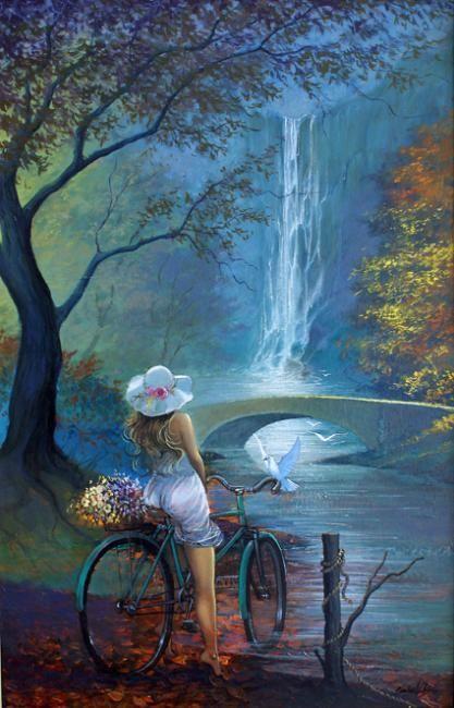 Moça da bicicleta - Pintura, 50x80 cm ©2010 por Carlos V. Pinto - Arte figurativa, Jovem admirano a cachoeira